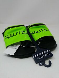 NWT Nautica ASLIEA Neon Green Zipper Pouch Slide  unisex, Size 8