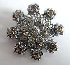 Vintage 20/30s Silver Tone Diamante Floral Deco Brooch