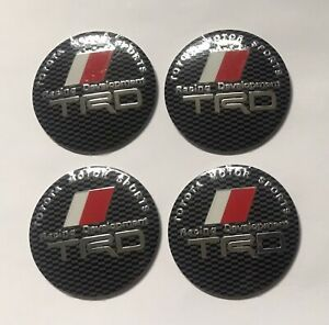 Set of 56mm BLACK Domed Wheel Centre Cap Cover Stickers For TRD Car