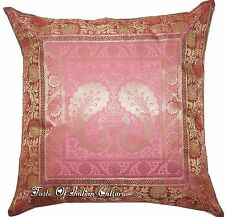 "Ethnic 17"" Pink Cushion Cover Pillow Toss Peacock Silk Brocade Indian Sofa Throw"