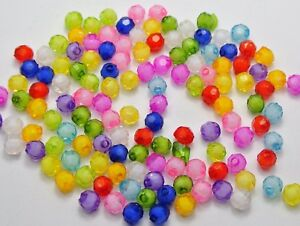 """Craft DIY Mixed Color Acrylic Faceted Round Beads 6mm-12mm """"Bead in Bead"""" Spacer"""