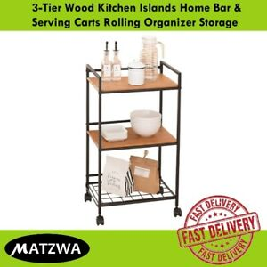 3Tier Wood Kitchen Serving Carts Heavy Duty Rolling Organizer Storage w/wheel