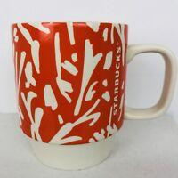 STARBUCKS Floral Mug Orange and White Spring 2016 12 oz Coffee Tea Latte Cup Mug