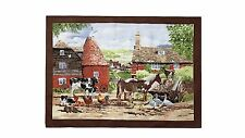 Vintage Country Farm Animals Red Brown Green 100 Cotton Tea Towel 70x50cm