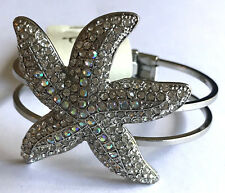 "8"" Bangle Bracelet w/ Huge 3D Starfish Clear Shimmery Rhinestones Silver Tone"