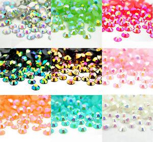 4000Pcs Crystal Flat Back Iridescent Nail Art Rhinestones Gems AB Glitter Beads