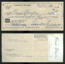 CK 163 Signed Personal Check Ted Williams Red Sox Signature October 11, 1990