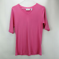 Denim & Co. Essentials V Neck Elbow Sleeve Rib Knit Top Light Rose XS A307546