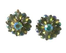Coro Frosted Green Marquis & Aurora Borealis Earrings