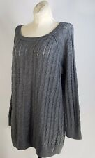 American Eagle Outfitters Sz M Gray Cable Knit Sweater Pull Over Women's Top