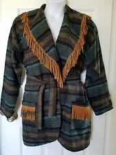 Vtg Southwest Aztec Woven Bohemian Hippie Fringe Trim Blanket Jacket Large / XL