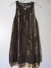 BCBG Max Azria Brown/Gold Floral Sequin Hem Sleeveless Kneelength Dress SZ 2
