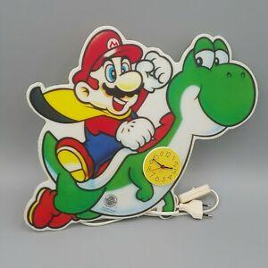 ⚡ Super Mario & Yoshi Nintendo Wandlampe + Uhr / Merchandise Lampe 1992 Reklame