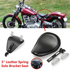 Black Motorcycle Spring Bracket PU Leather Solo Seat For Chopper Bobber Cust Js