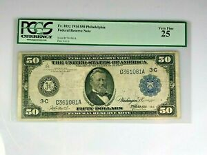 1914 Large Size $50 Federal Reserve Note  - PCGS 25 - Very Fine - BEAUTIFUL !!