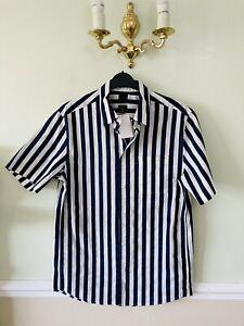 Mens Cotton Shirt Navy/ White Small