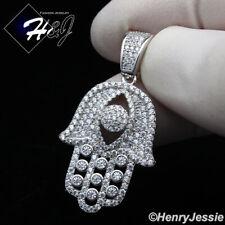 MEN WOMEN 925 STERLING SILVER ICY DIAMOND 3D EVIL EYE HAMSA HAND PENDANT*SP151
