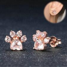 1pair Shiny Pink Stud Earrings Jewelry Cat Dog Paw Print Earring Female Piercing