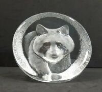 Mats Jonasson Crystal Glass Raccoon Sculpture Figurine Paperweight Made n Sweden