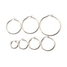 New Women 316L Stainless Steel Silver Black Gold Hoop Dangle Earring Studs