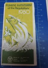 """1980 """"Fishing"""" Summary of The Regulations. Ministry of Natural Resources Map Ont"""