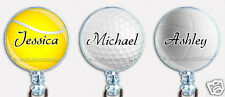 Personalized Badge Reel Retractable ID Name Card Holder Golf Tennis Volley Balls