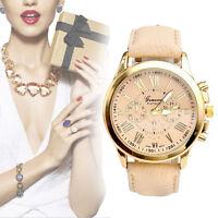 Fashion Geneva Women Leather Band Stainless Steel Quartz Analog Wrist Watch Hot