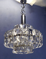 VINTAGE MODERNIST 1960 CUT CRYSTAL GLASS HANGING LAMP PENDANT LIGHT CHANDELIER