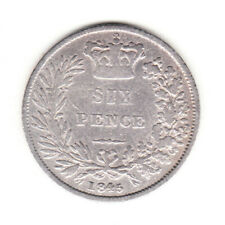 1845 Great Britain Queen Victoria Silver Sixpence.
