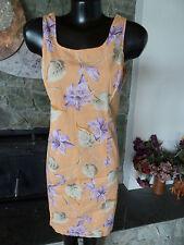 Jones NY Stretch Hawaiian Shift Dress Tropical Flora Apricot Lilac Green Tan 12
