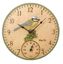"Blue Tit 12"" Garden Clock Outdoor Outside Indoor Wall Bird Kitchen Gift 30cm"