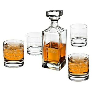 Engraved Whiskey Decanter Set of 5 Custom Personalized Monogrammed Name Initial