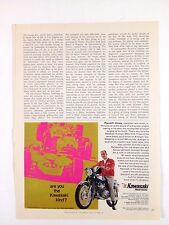 1968 Kawasaki Avenger 350cc Motorcycle Parnelli Jones Print Ad