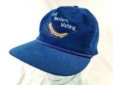 Vintage GREAT WESTERN MALTING SnapBack Cap Trucker Hat Corduroy Mesh Brew Craft