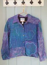 Chicos Size 1 Medium 100% Silk Beaded Embroidered Blue Purple Jacket Art to Wear
