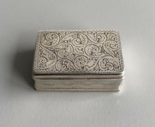 More details for antique 19th century georgian solid silver engraved snuff box
