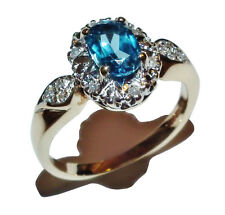 9ct Yellow Gold, Blue Topaz & Diamond Cluster Ring - UK Size: K 1/2