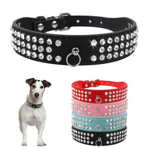 Bling Rhinestone Pet Dog Collar Soft PU Leather Dog Necklace Chihuahua Yorkshire
