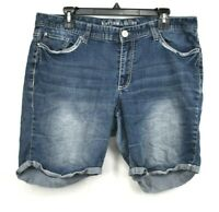 Rhythm in Blues Medium Denim Shorts Zip Fly Cotton Stretch Button Front Size 14