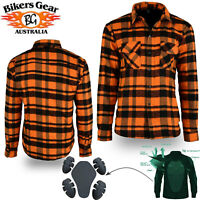 Australian Bikers Gear CE Motorcycle Flannel Shirt made lined with Kevlar Orange