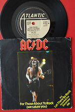 "AC/DC FOR THOSE ABOUT TO ROCK/LET THERE BE ROCK 1982 RARE UK 7"" PS"
