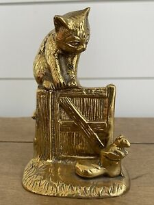 Vintage Brass Cat on Gate Door Mouse in Boot -HEAVY