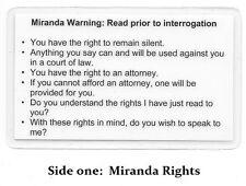 Miranda Warning (Rights) & Phonetic Alphabet Card / Sheriff / Police / Marshal