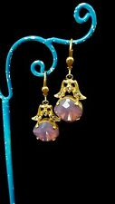 Catherine Popesco ~ Opaque Violet & White Diamond Swarvoski Crystal Earrings