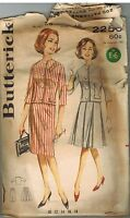 2258 Vintage Butterick SEWING Pattern Misses 1960s Two Piece Outfit Jacket Skirt