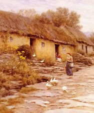 Oil painting frederick waters watts RR irish cottage young woman & Poultry ducks