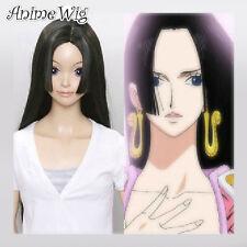 Schwarz Cosplay Anime Wig Kostüme Perücke One Piece Boa Hancock 100CM lang
