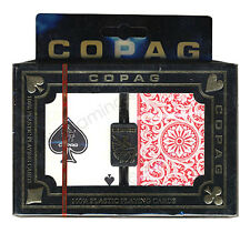 "COPAG ""1546"" RED & BLUE PLASTIC PLAYING CARDS 2 POKER DECKS REGULAR INDEX *"
