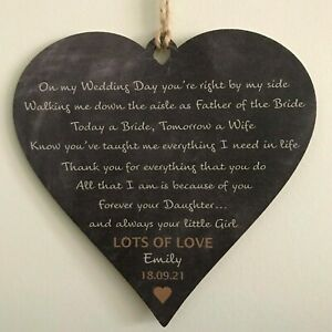 Personalised Father of the Bride Gifts Wedding Favours FOB Dad Daughter Keepsake