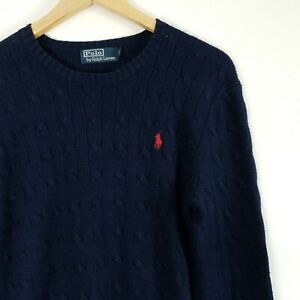 Mens polo Ralph Lauren knitted jumper size S small navy cable knit logo